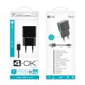 4-OK CHARGER 2xUSB 220V CLUS2C AC 2A BLACK USB C