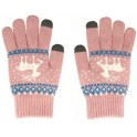 GLOVES FOR TOUCH SCREENS LIGHT PINK WITH REINDEER