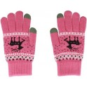 GLOVES FOR TOUCH SCREENS PINK WITH REINDEER