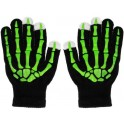 GLOVES FOR TOUCH SCREENS BLACK SKELETON GREEN